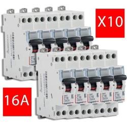 Lot de 10 disjoncteurs électriques 16A
